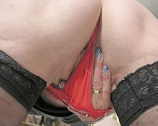 Naughty granny with black stokings